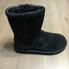 UGG® Pierce (Black Ugg Boots with zipper) Authentic black ugg boots with a zipper on the inner side of the boot, soft suede exterior, and sheepskin interior. There is also a leather trim on the top of the boot. only worn once, waterproofed, and in great condition! Willing to negotiate price!  UGG Shoes Winter & Rain Boots