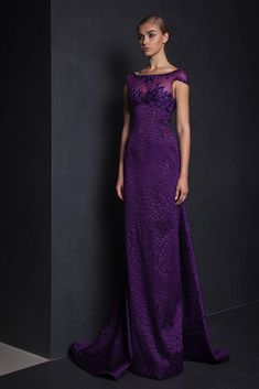 Purple Organza Fil Coupé long dress with a train, embroidered bust and cap sleeves.