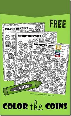Color the Coins - Money Worksheets for preschool kindergarten and first grade