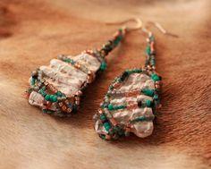 Shell Framed EarringsSeed Bead Woven ShellBohemian by NativeStyles