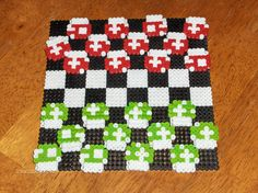 Super Mario mushroom perler beads checkers set nintendo.