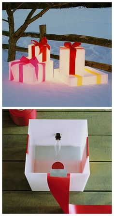 Lighted Gift Boxes - Decorating with lights – 20 DIY String Light Projects outsidechristmasdecorations Outside Christmas Decorations, Hanging Christmas Lights, Xmas Lights, Decorating With Christmas Lights, Holiday Lights, Christmas Ornaments, Christmas Light Installation, Christmas Projects, Simple Christmas