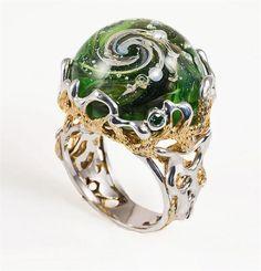 Кольцо fancy green