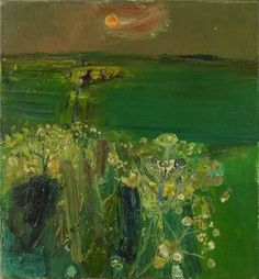 "alongtimealone: ""Joan Eardley (British, Green Fields at Sunset. Oil on canvas, 15 x 14 in. Green Landscape, Abstract Landscape, Landscape Paintings, Kunst Online, Online Art, Galerie D'art, Art Moderne, Painting & Drawing, Contemporary Art"