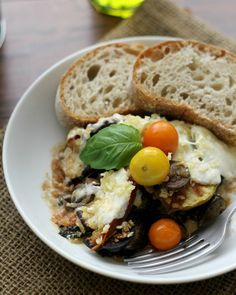 A fresh and delicious summer gratin filled with layers of eggplant, tomatoes, chard, and mozzarella.
