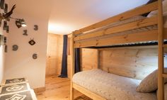 Family bunk room in Chalet Maurine Ski Lift, Ski Chalet, Swiss Alps, Contemporary Decor, Bunk Beds, Skiing, Living Spaces, Sleep, Flooring