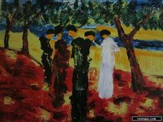 noenga.com :(c) Oscar Posada (SPAIN) :: Paseo bajo los árboles :: Figuratief : Expressionistisch : Schilderij : Olie : óleo sobre tabla, 70x50 cm
