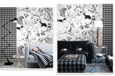 """Doggie's World Wallpaper I'm A Dog Person Wall Mural Children's Room Toy Room Baby Nursery Wall Art Grey Black and White Plaids 55.5""""x40.1"""" by DreamyWall on Etsy https://www.etsy.com/listing/484314853/doggies-world-wallpaper-im-a-dog-person"""