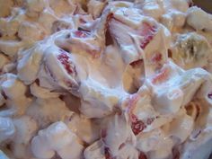 Strawberry Cheesecake Salad. 12 oz. whipped topping; 1 small package of cheesecake pudding; 3 (6 oz) strawberry yogurts (I used Yoplait); 1 lb fresh strawberries, sliced; 3 bananas, sliced (add just before serving or they brown); miniature marshmallows (add just before serving).