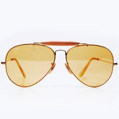 Vintage Ray Ban Sunglasses. Bausch and Lomb Ambermatic Yellow Aviators 62mm #ClothandDagger