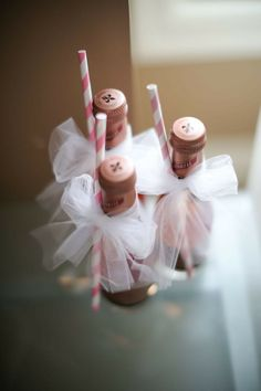 Event Drinks Ideas - Wedding Party - New Years Party - Celebration - Champagne - Pink - Bows - Party Decorations - DIY Decorations