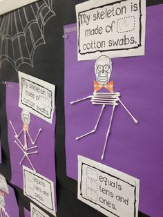 Halloween art skeleton Click the LINK below, not the picture. My first grade kiddos LOVED this Halloween math craft about place value! Bonus: It made an awesome Halloween bulletin board : Math Crafts, Classroom Crafts, Classroom Activities, Craft Activities, Classroom Ideas, Teaching Activities, Future Classroom, Halloween Crafts For Kids, Halloween Activities
