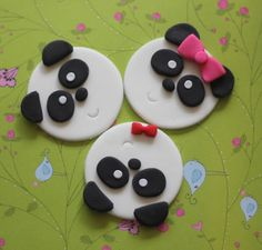 Adorable Panda Bear Fondant Toppers - Perfect for Cupcakes, Brownies and Other Creations by LesPopSweets on Etsy https://www.etsy.com/listing/101943737/adorable-panda-bear-fondant-toppers