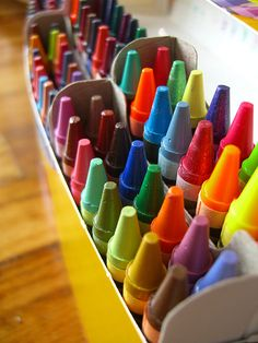 A freshly opened box of Crayola crayons. I love that smell. I remember the jumbo ones my mom bought me and I remember my first 64 box that my grandma bought me after I had my tonsils out in Kindergarten!