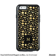 Faux Gold Dotted Nuggets on Black with Monogram OtterBox iPhone 6/6s Case