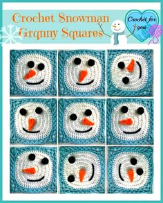 Crochet Snowman Granny Square Motif By Erangi Udeshika - Free Crochet Pattern - (ravelry) Granny Square Häkelanleitung, Granny Square Crochet Pattern, Crochet Blocks, Crochet Squares, Crochet Granny, Crochet Motif, Crochet Stitches, Free Crochet, Knit Crochet