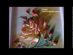 ▶ Вышивка лентами Ribbon embroidery РОЗА ОТ СНЕЖИ мастер-класс - YouTube