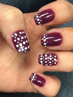 burgundy white silver dots