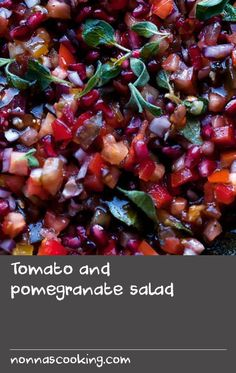 Tomato and pomegranate salad Canned Sweet Potato Recipes, Cooked Rice Recipes, Fresh Basil Recipes, Beef Soup Recipes, Tomato Salad Recipes, Summer Salad Recipes, Flour Recipes, Cooking Recipes, Weed Recipes