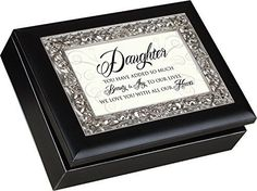 Daughter Cottage Garden Matte Black Finish with Ornate Silver Color Inlay Jewelry Music Box - Plays Song You are my Sunshine
