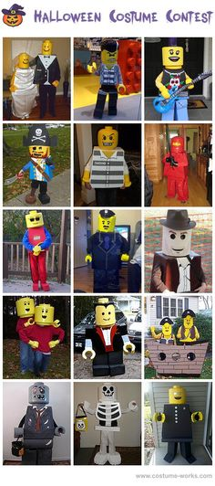 Homemade Lego Costumes - I do have a Halloween party to go to. Lego Halloween Costumes, Holidays Halloween, Halloween Kids, Halloween Crafts, Halloween Party, Creative Costumes, Cool Costumes, Lego Fancy Dress Costume, Children Costumes