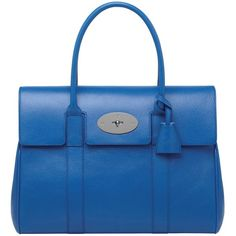 MULBERRY Bayswater Shiny Leather Top Handle Bag (5.930 BRL) ❤ liked on Polyvore featuring bags, handbags, bluebell blue, top handle leather handbags, leather man bags, blue handbags, genuine leather handbags and blue purse