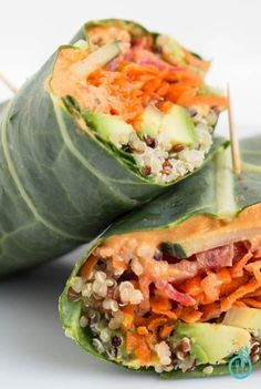 Veggie Quinoa Collard Wraps - healthy, vegan lunch that will fill you up #vegetarian #recipe #vegan #recipes #healthy