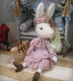 OOAK Miniature Rabbit Darcy White German Mohair von cindysowers