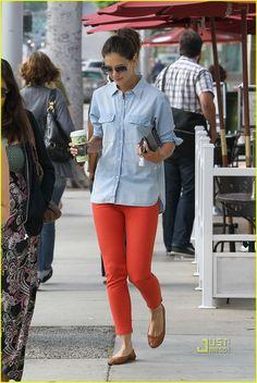 Orange pants + denim shirt