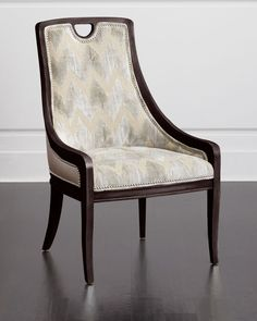 Belle Leather Side Chair, Tan / Lt Gold - Massoud