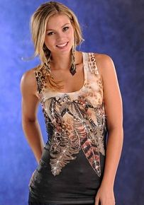 Panhandle Slim Womens Feather Print Lace Back Tank Top