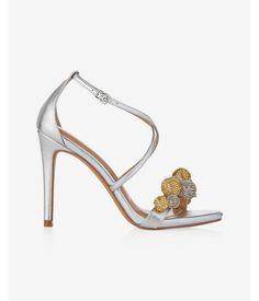 Sequin Pom Heeled Sandal  Women's