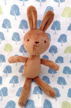 little brown bunny rabbit rag doll stuffed by dearsweetdarlings #makersonhudson