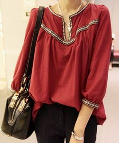 Casual Style Scoop Neck Embroidered 3/4 Sleeve Women's Blouse