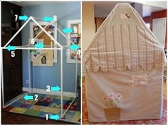 I have used PVC pipe and the elbow connectors for a wall ider and a clothes rack and they are really easy to use! Tutorial from Angry Julie Monday here ... & YAY.. we did this! Play house or Fort made out of PVC pipe and ...