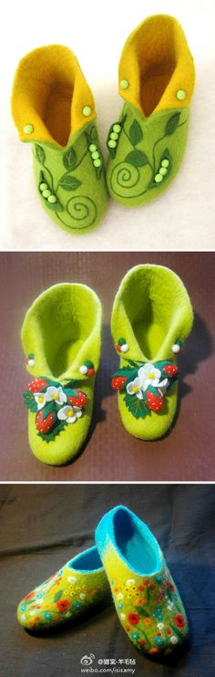 lovely felted slippers; i love the pea in the pods