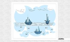 Floating Boats AQUA is an original sSCAPESs handmade drawing that was digitally enhanced. It is an abstract illustration of an imaginary seascape with boats floating into peaceful horizon. Floating Boat, Art Diy, Green Art, Landscape Illustration, Minimalist Decor, Teal, Aqua, Modern Design, Boats