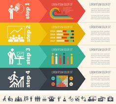 Social Media Flat Infographics Elements by Andrew Kravchuk, via Behance