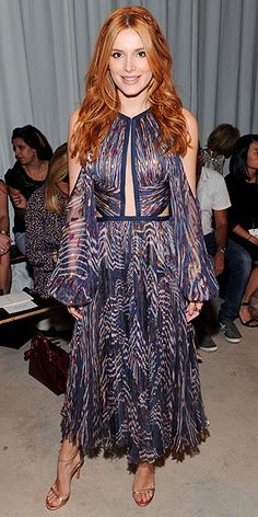 Bella Thorne in a printed boho dress at the spring 2016 J. Mendel fashion show