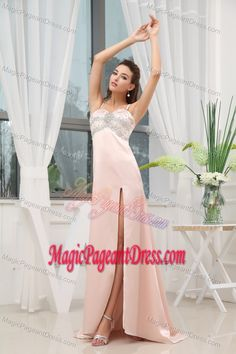 Straps Beaded High Slit in Brush Pageant Dress in Train from Utica