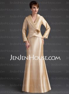 $157.49 - Mermaid V-neck Floor-Length Taffeta  Dress With Ruffle Flower(s) (008006538) http://jenjenhouse.com   gold  simple and slimming