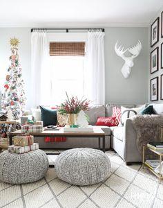 Modern Farmhouse Christmas Living Room - Holiday Home Tour   inspiredbycharm.com