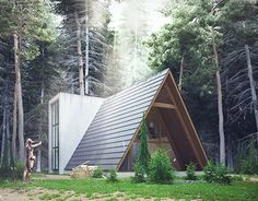 Cottage on Behance Tiny House Cabin, Tiny House Design, Cabin Homes, Tiny Homes, A Frame House Plans, A Frame Cabin, Triangle House, Dome House, Forest House