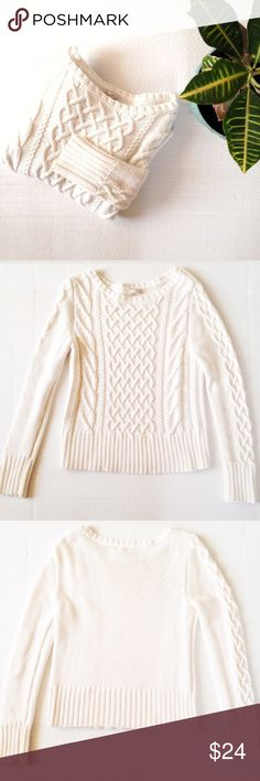 GAP Cable Knit Sweater Cable knit Sweater from GAP. Size: S. Color: Cream. Perfect basic knit Sweater to layer and keep you cozy. Length is 22 inches. GAP Sweaters Crew & Scoop Necks