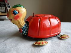 "1950's Cragstan Tin Litho ""Tubby The Turtle"" Battery Op Toy Yonezawa Japan"