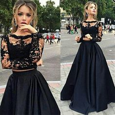 Beautiful Prom Dress, black prom dresses lace prom dress sexy prom dress sleeves prom dresses charming formal gown high low evening gowns black party dress prom gown for teens Meet Dresses Two Piece Evening Dresses, Two Piece Formal Dresses, Prom Dresses Two Piece, High Low Prom Dresses, Prom Dresses Long With Sleeves, Black Party Dresses, A Line Prom Dresses, Prom Party Dresses, Sexy Dresses