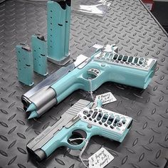 Another view of this hot set up| Thoughts? | Double barrel 1911 & Sig Sauer P238  From @secondamendmentmommy #tiffany #blue ( # via @gun)