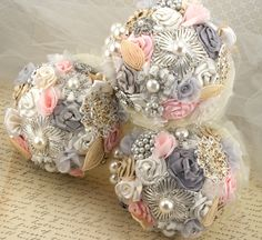 Brooch Bridesmaids Bouquets Wedding Bouquets in Blush Pink, Grey, Champagne and Ivory Vintage Inspired French Beaded leaves. $450.00, via Etsy.