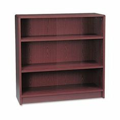"""1890 Series Bookcase, 3 Shelves, 36w x 11-1/2d x 36-1/8h, Mahogany by HON (Catalog Category: Furniture & Accessories / Bookcases) by Hon. $169.92. 1890 Series Bookcase, 3 Shelves, 36w x 11-1/2d x 36-1/8h, Mahogany by HONDurable, long-lasting laminate finish. Contemporary edges for a soft designer look. 3/4"""" thick shelves adjust on 1-1/4"""" increments. Four adjustable leveling glides. Inside back finished. 36w x 11-1/2d. Meets or exceeds ANSI/BIFMA standards. Color: Mahogany; Mate..."""