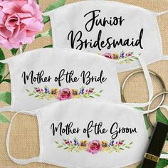 Wedding Face Masks, Bridal Party Masks , Bride and Bridesmaid Cotton Fabric Face Mask Mask Party, Brides And Bridesmaids, Mask Design, How To Be Outgoing, Maid Of Honor, Mother Of The Bride, Bridal Shower, Groom, This Or That Questions